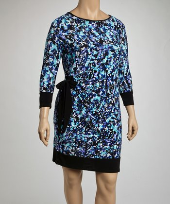 Black & Purple Floral Drape Three-Quarter Sleeve Dress - Plus
