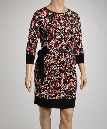 Brown & Coral Floral Drape Three-Quarter Sleeve Dress - Plus