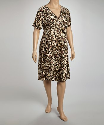 Black & Chestnut Empire-Waist Dress - Plus