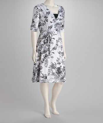 White & Black Floral Plus-Size Surplice Dress