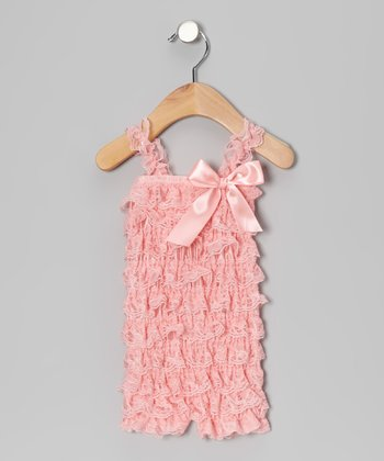 Light Pink Lace Ruffle Romper