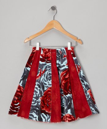Red Rose Panel Velvet Skirt - Toddler & Girls