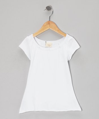 White Scoop Neck Tee - Toddler & Girls