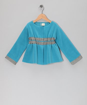 Island Blue Ruched Jacket - Toddler & Girls