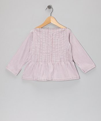 Magenta Stripe Boatneck Peplum Top - Toddler & Girls