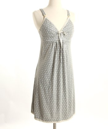 Gray Polka Dot Nursing Nightgown