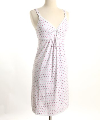 Pink Polka Dot Nursing Nightgown