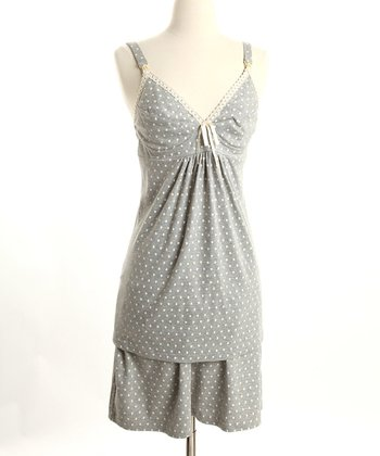 Gray Polka Dot Nursing Tank & Shorts