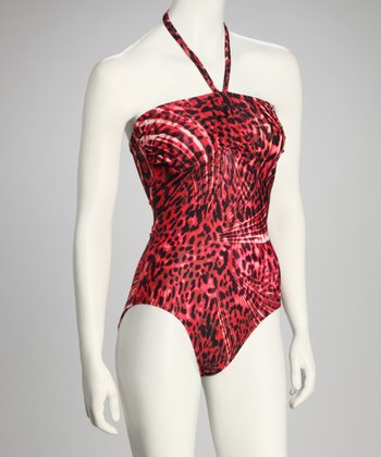 Red Bandeau Halter One-Piece