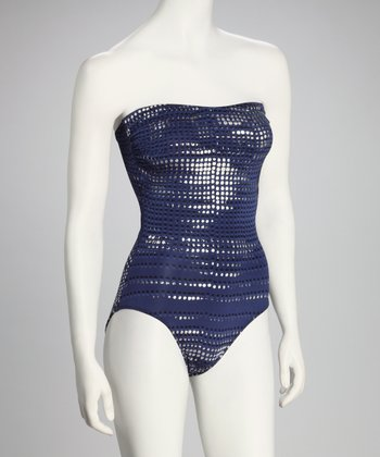 Navy Metallic Bandeau One-Piece