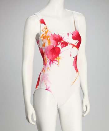 White & Pink Floral One-Piece