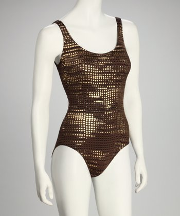 Brown Metallic One-Piece