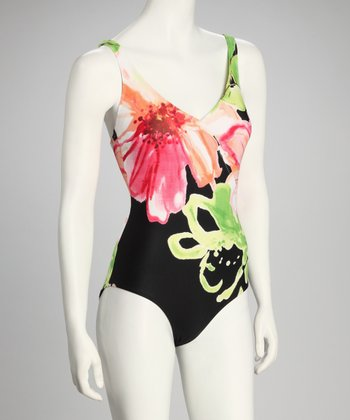 Black & Pink Floral One-Piece