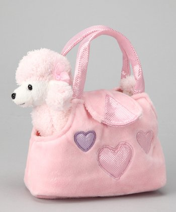 Pink & White Plush Poodle & Purse