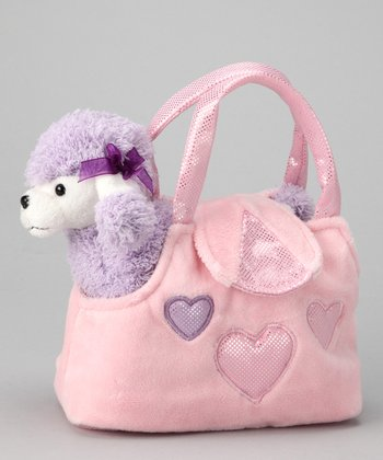Pink & Purple Plush Poodle & Purse