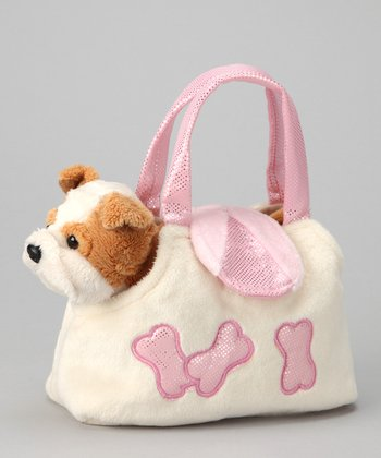 Pink Plush Bulldog & Purse