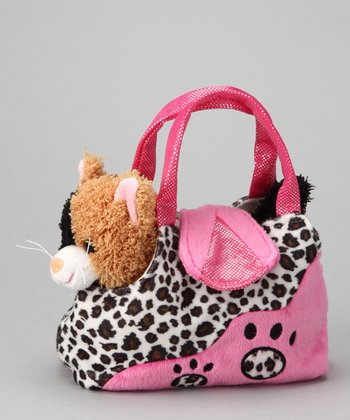 Pink Calico Cat Leopard Plush Purse