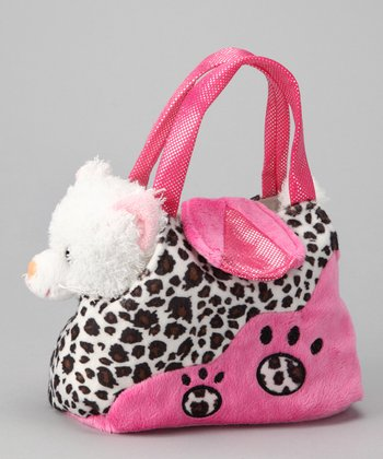 Pink White Cat Leopard Plush Purse