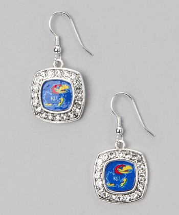 Kansas Jayhawks Silver Logo Earrings - Women