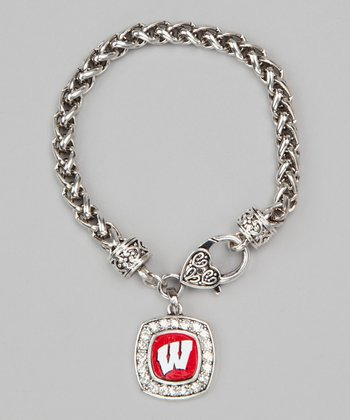 Wisconsin Badgers Silver Charm Bracelet - Women