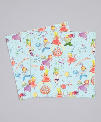 Retro Birthday Party Premium Paper Gift Wrap - Set of Six