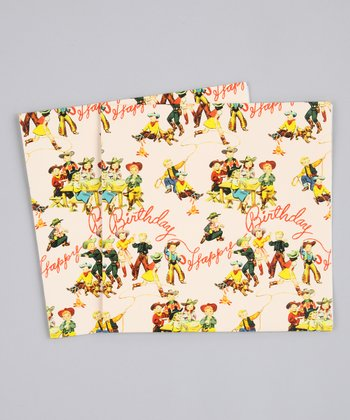 Cowboy Premium Paper Gift Wrap - Set of Six