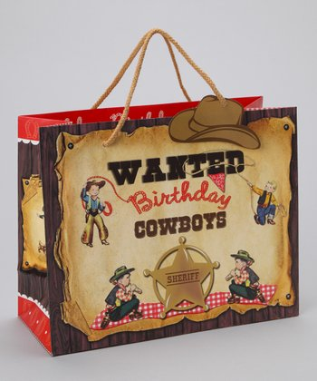 Large Birthday Cowboy Gift Tote - Set of Three