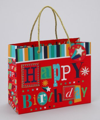 Red 'Happy Birthday' Gift Tote - Set of Three