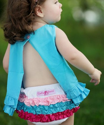 White Rainbow Ruffle Diaper Cover - Infant & Toddler