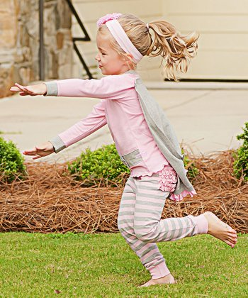 Pink & Gray Ruffle Superhero Pajama Set - Infant
