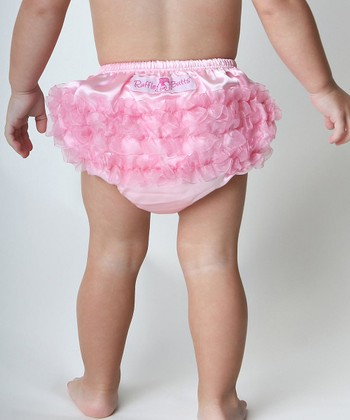 Pink Satin Ruffle Diaper Cover - Infant & Toddler