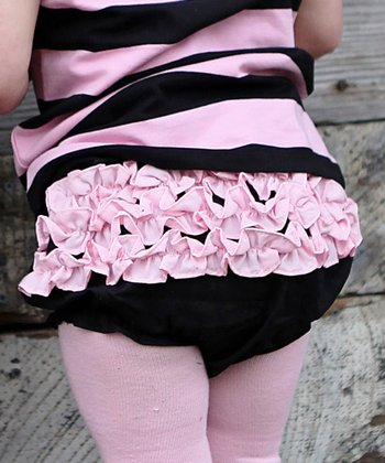 Black & Pink Ruffle Diaper Cover - Infant