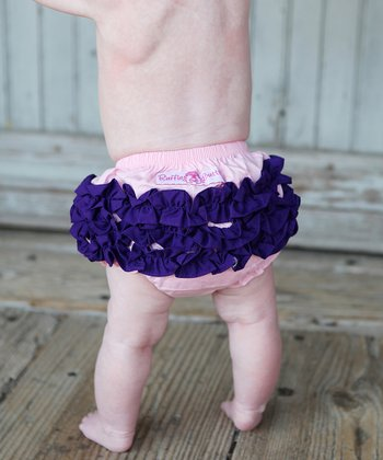 Pink & Grape Ruffle Diaper Cover - Infant