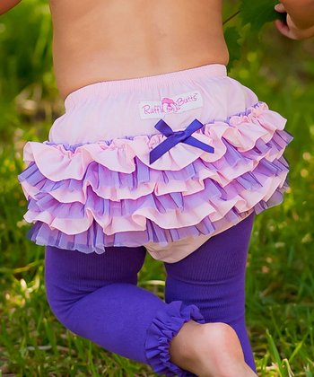 Pink & Purple Tutu Ruffle Diaper Cover - Infant