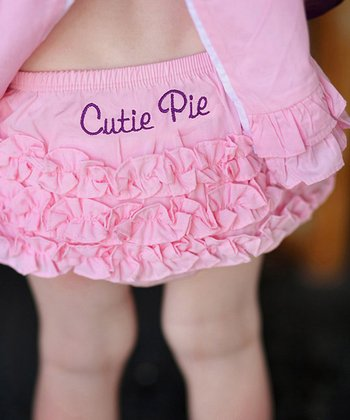Pink 'Cutie Pie' Ruffle Diaper Cover - Infant & Toddler