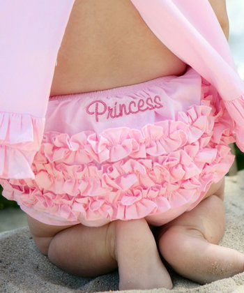 Pink 'Princess' Ruffle Diaper Cover - Infant & Toddler