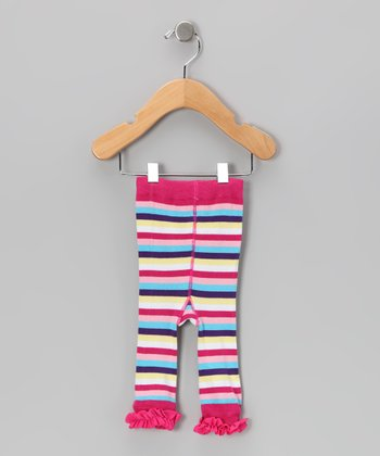 Pink Stripe Ruffle Leggings - Infant