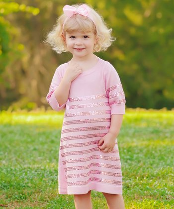 Pink Sequin Sweater Dress - Infant, Toddler & Girls