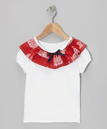 Red & White Ruffle Tee - Infant, Toddler & Girls