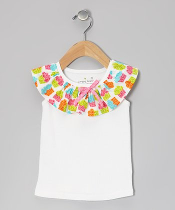 White Rainbow Cupcake Ruffle Tank - Infant, Toddler & Girls