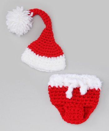 Red & White Santa Diaper Cover