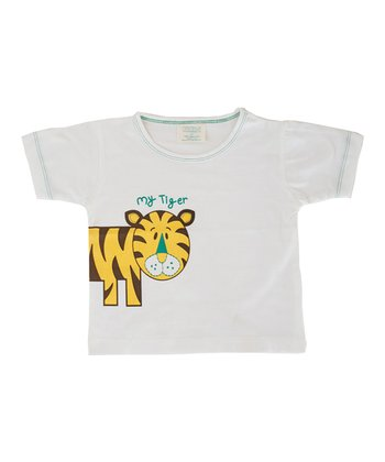 White 'My Tiger' Organic Tee - Toddler