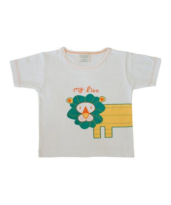 White 'My Lion' Organic Tee - Toddler