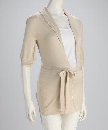 Cream Belted Maternity Cardigan