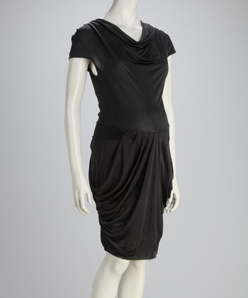 Black Maternity Cowl Neck Dress