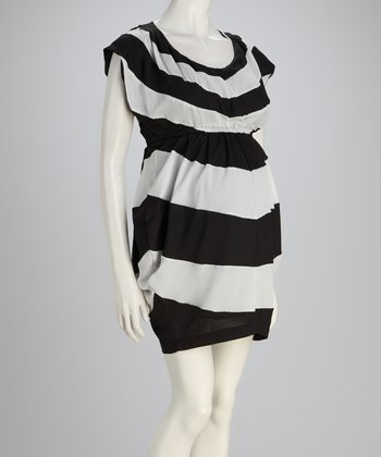 Black & White Stripe Chiffon Maternity Dress
