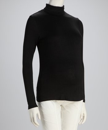 Black Basic Long-Sleeve Maternity Turtleneck