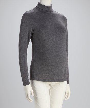 Gray Basic Long-Sleeve Maternity Turtleneck