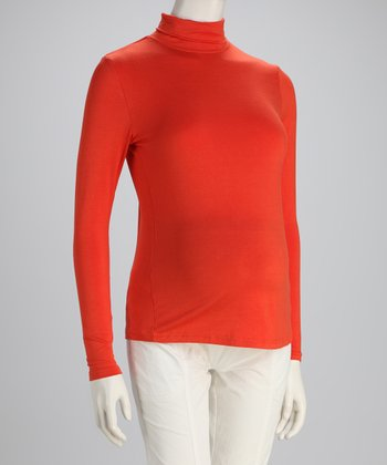 Orange Basic Long-Sleeve Maternity Turtleneck