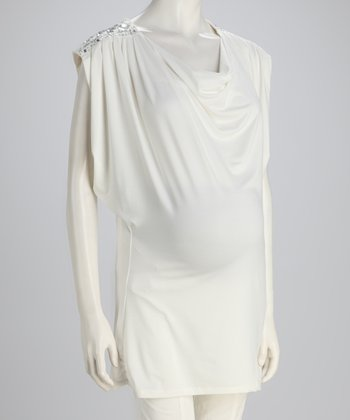 White Beaded Maternity Top